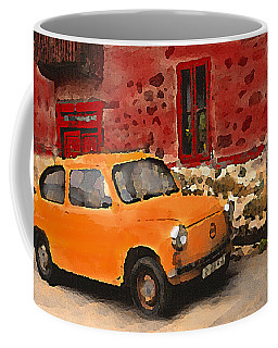 Red House With Orange Car Coffee Mug