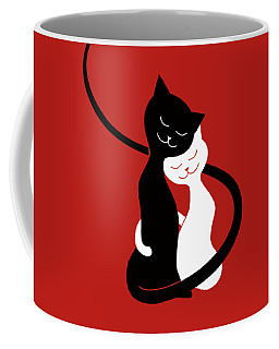 Red Hugging Love Cats Coffee Mug