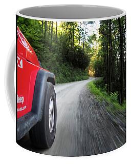 Red Jeep On Mountain Road Coffee Mug