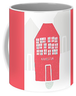 Coffee Mug featuring the mixed media Red Kaffestua- Art By Linda Woods by Linda Woods
