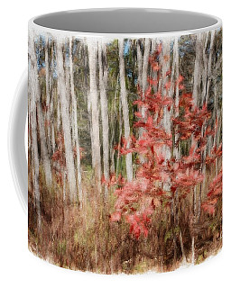 Red Leaves Among Birch Trees Coffee Mug by Marcia Lee Jones