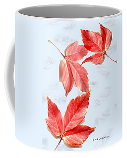 Red Leaves On Blue Texture Coffee Mug