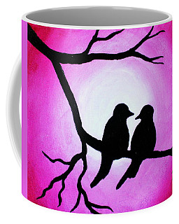 Coffee Mug featuring the painting Red Love Birds Silhouette by Bob Baker