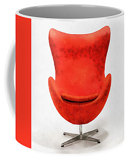 Red Mid Century Modern Chair Coffee Mug by Edward Fielding