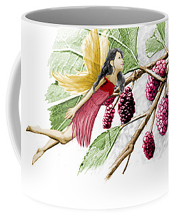 Red Mulberry Tree Fairy With Berries Coffee Mug