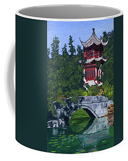 Coffee Mug featuring the painting Red Pagoda by Lynne Reichhart