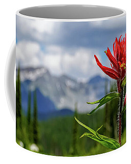 Red Paintbrush On Mount Revelstoke Coffee Mug