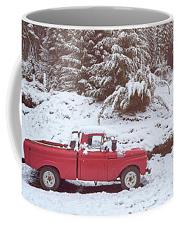 Coffee Mug featuring the photograph Red Pickup Truck On The Snow by Eduardo Jose Accorinti