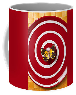 Red Plate And Yellow Black Butterfly Coffee Mug