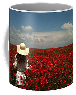 Red Poppies And Lady Coffee Mug