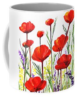 Red Poppies Art By Irina Sztukowski Coffee Mug by Irina Sztukowski