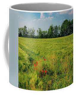 Red Poppies On A Green Wheat Field Coffee Mug