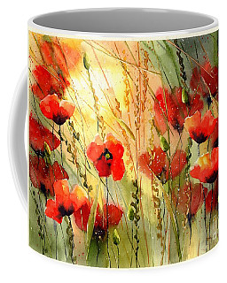Red Poppies Watercolor Coffee Mug