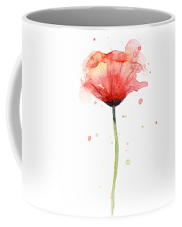 Red Poppy Watercolor Coffee Mug