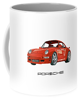 Red Porsche 993 1997 Twin Turbo R Coffee Mug