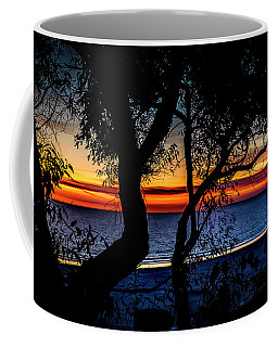 Silhouettes And Red Ribbons Across The Bay Coffee Mug