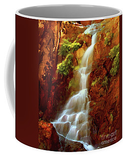 Coffee Mug featuring the painting Red River Falls by Peter Piatt