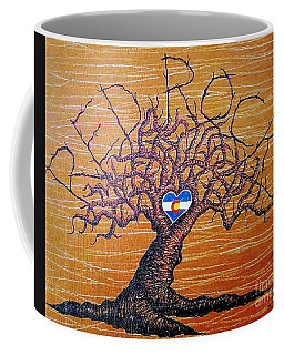 Coffee Mug featuring the drawing Red Rock Colorado Love Tree by Aaron Bombalicki