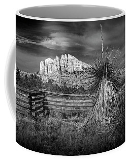 Coffee Mug featuring the photograph Red Rock Formation In Sedona Arizona In Black And White by Randall Nyhof