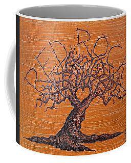 Coffee Mug featuring the drawing Red Rocks Love Tree by Aaron Bombalicki