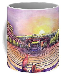 Foxes At Red Rocks Sunrise Coffee Mug