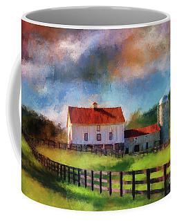 Coffee Mug featuring the digital art Red Roof Barn by Lois Bryan
