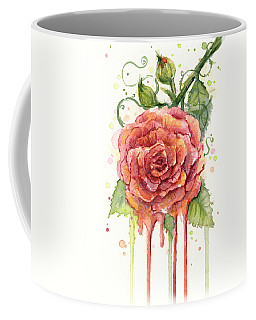 Red Rose Dripping Watercolor  Coffee Mug