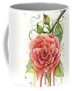 Red Rose Dripping Watercolor  Coffee Mug