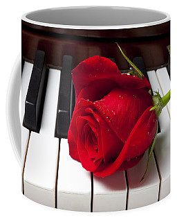Red Rose On Piano Keys Coffee Mug
