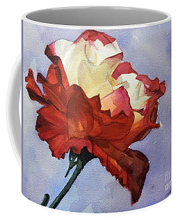 Watercolor Of A Red And White Rose On Blue Field Coffee Mug