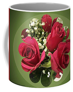 Coffee Mug featuring the digital art Red Roses And Baby's Breath Bouquet by Sonya Nancy Capling-Bacle