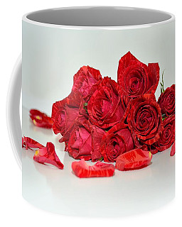 Red Roses And Rose Petals Coffee Mug by Serena King