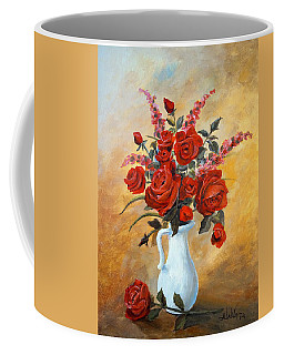 Red Roses In A White Pitcher Coffee Mug