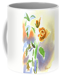 Coffee Mug featuring the painting Red Roses With Holly In A Vase by Kip DeVore