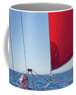 Coffee Mug featuring the photograph Red Sail On A Catamaran by Clare Bambers