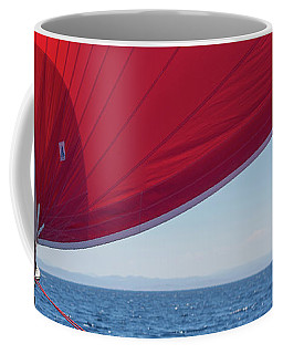 Coffee Mug featuring the photograph Red Sail On A Catamaran 2 by Clare Bambers