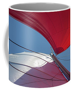 Coffee Mug featuring the photograph Red Sail On A Catamaran 3 by Clare Bambers