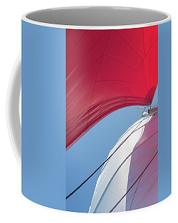 Coffee Mug featuring the photograph Red Sail On A Catamaran 4 by Clare Bambers
