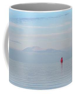 Red Sailboat On Lake Coffee Mug