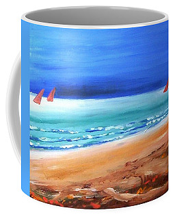 Coffee Mug featuring the painting Red Sails by Winsome Gunning
