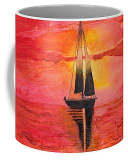 Red Sky At Night Sailors Delight Watercolor Coffee Mug