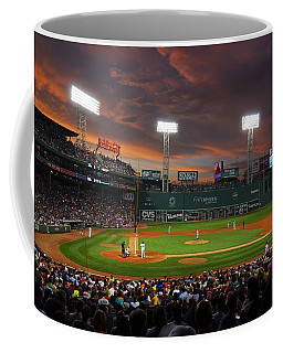 Red Sky Over Fenway Park Coffee Mug