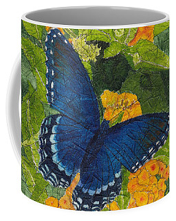 Red Spotted Purple Butterfly Batik Coffee Mug