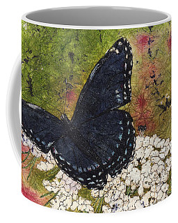 Red Spotted Purple Butterfly Queen Annes Lace Batik Coffee Mug