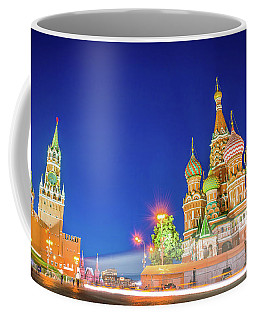 Coffee Mug featuring the photograph Red Square At Night by Delphimages Photo Creations