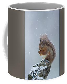 Red Squirrel In A Blizzard Coffee Mug