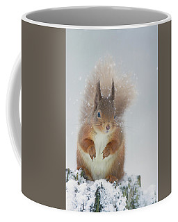 Red Squirrel In Winter Coffee Mug