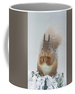 Red Squirrel With Snowflakes Coffee Mug