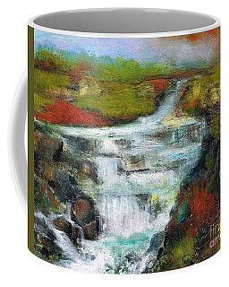 Coffee Mug featuring the painting Yellow Fields With Red Sumac by Frances Marino