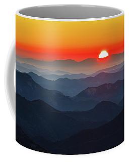 Red Sun In The End Of Mountain Range Coffee Mug